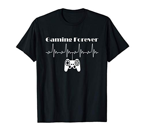 Gaming Forever Gamer Videospiel Controller Heartbeat Design T-Shirt